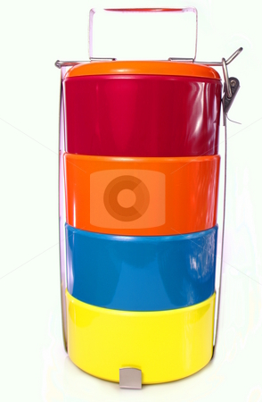 Tiffin Carrier Lunch Box stock photo, Bright and colourful melamine Tiffin Carrier style lunch box by Martin Darley