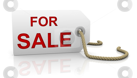For sale tag in left position stock photo, For sale tag with white background and red letters in left position by Nuno Andre