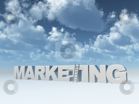 Marketing stock photo, The word marketing and a ladder in front of blue sky - 3d illustration by J?