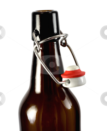 Open bottle macro stock photo, Open bottle of beer , isolated on white background by Vladyslav Danilin