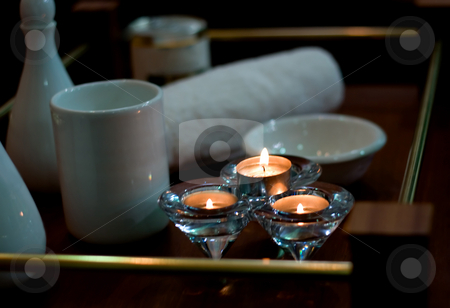Spa products stock photo, Spa products body-care in candlelight by Vladyslav Danilin