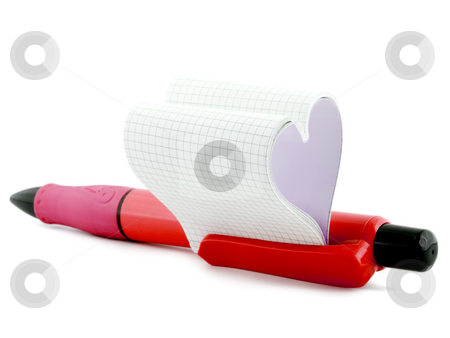 Heart in pen  stock photo, Heart in pen symbol amorous message close-up isolated on white background by Vladyslav Danilin