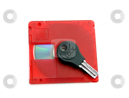 Key on disk stock photo, Copyright protection by locked key disk , isolated on a white background. by Vladyslav Danilin