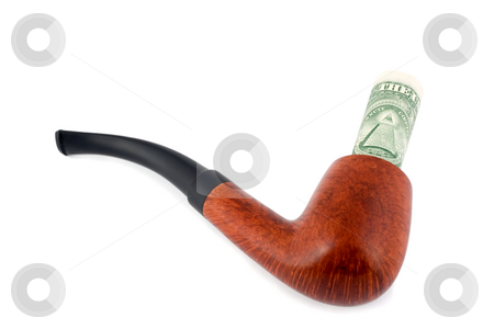 Tobacco-pipe stock photo, Tobacco-pipe spend dollars close-up concepts isolated on white background by Vladyslav Danilin