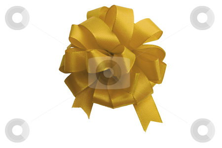 Gold bow ,isolated on white background stock photo, Gold bow to be used in placing on top of items - gifts, products, etc. by Vladyslav Danilin