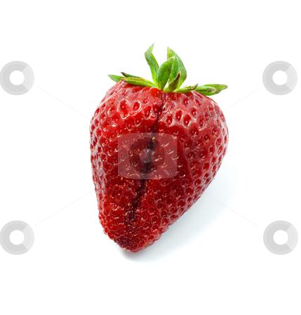 Ripe strawberry stock photo, Ripe strawberry  isolated black background by Vladyslav Danilin