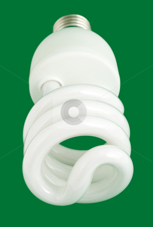 Compact fluorescent light bulb stock photo, Compact fluorescent light bulb close-up , isolated on green background by Vladyslav Danilin