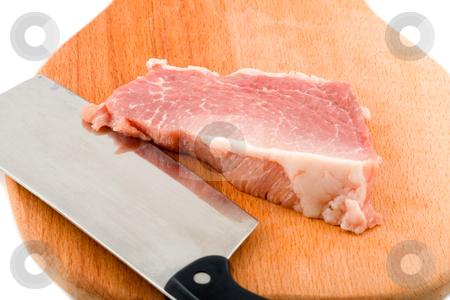 Raw steak  stock photo, Raw steak in kitchen board, white background by Vladyslav Danilin