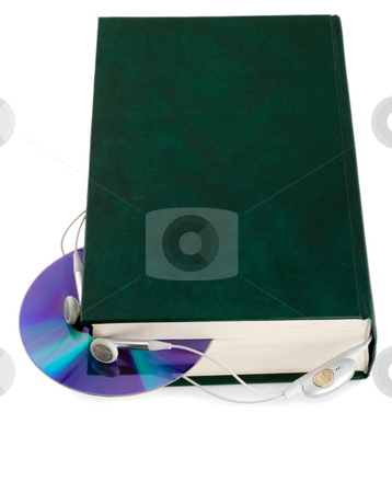 Audio book CD disk stock photo, Audio book CD disk and earphones close-up isolated on white background by Vladyslav Danilin