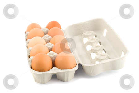 Eggs stock photo, Eggs in protective case foreground close-up isolated on white background by Vladyslav Danilin
