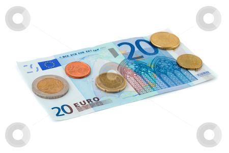 Euro coin heap isolated on white stock photo, Euro coin isolated on white background by Vladyslav Danilin