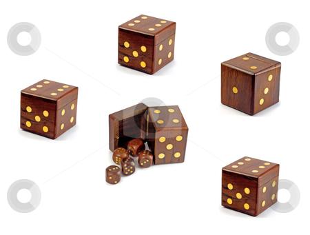 Dices in dice stock photo, Wooden playing dices in dice over white background by Vladyslav Danilin