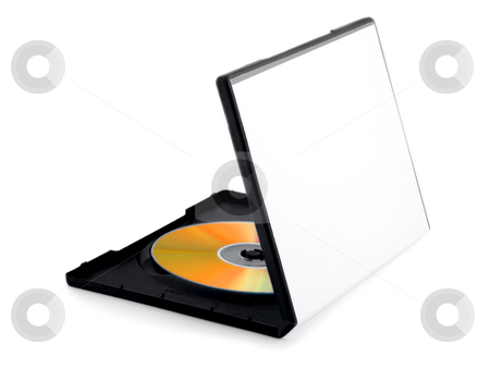 Golden disk on box stock photo, Golden disk on box compact disk isolated on white background by Vladyslav Danilin