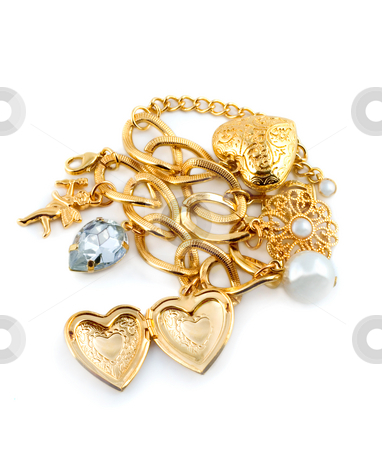 Gold heart  stock photo, Gold heart in necklace isolated on white background by Vladyslav Danilin