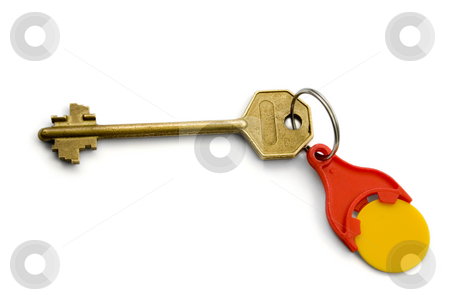 Key bronze stock photo, Isolated bronze Key with red key ring for coins On White  background by Vladyslav Danilin