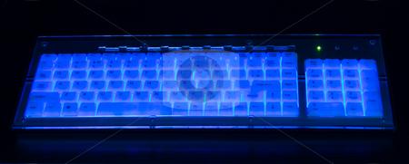 Luminant Keyboard stock photo, Luminant blue Keyboard on black background by Vladyslav Danilin