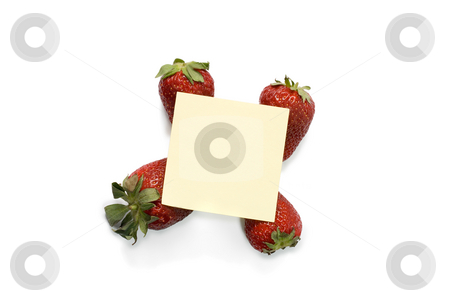 Note paper on strawberry stock photo, Note paper on strawberries,isolated on a white background by Vladyslav Danilin