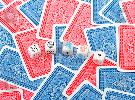 Poker dice stock photo, Poker dice in cards background by Vladyslav Danilin