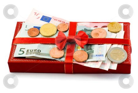 Gift box european union currency stock photo, Gift box european union currency isolated on white by Vladyslav Danilin