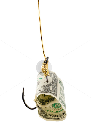 Dollar bait in hook  stock photo, Dollar bait in hook  , close-up isolated on white background by Vladyslav Danilin