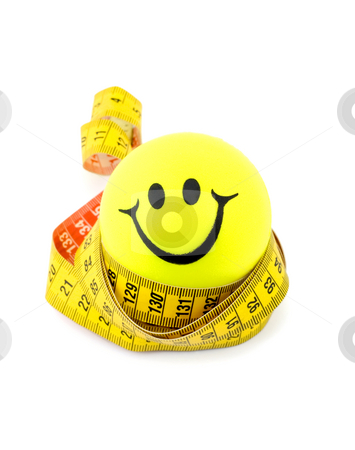 Smiley ball and tape measure stock photo, Yellow smiley ball and tape measure isolated on white by Vladyslav Danilin