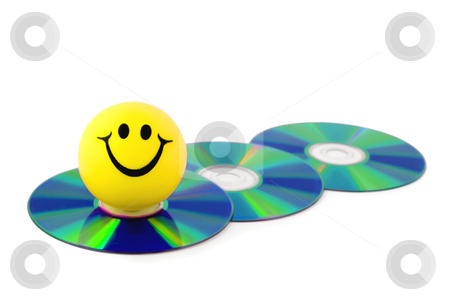 Smiles stock photo, Smiles on dvd disk computer close-up isolated on white background by Vladyslav Danilin