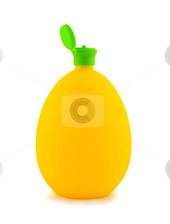 Lemon stock photo, Lemon juice in bottle to form of the lemon ,isolated on white background. by Vladyslav Danilin