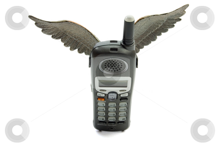 Flying Telephone stock photo, Flying Telephone,isolated on white background by Vladyslav Danilin