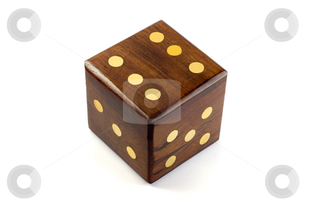 Dice stock photo, Wooden playing dice,isolated on a white background by Vladyslav Danilin
