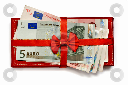 Euro gift  stock photo, Euro on box with bow, isolated on white background by Vladyslav Danilin