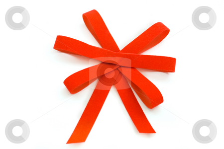 Red Bow stock photo, Red Velvet Bow ,isolated on white background by Vladyslav Danilin