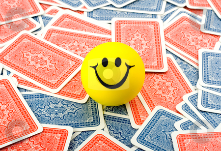 Smile in cards stock photo, Smile in red and blue cards background by Vladyslav Danilin