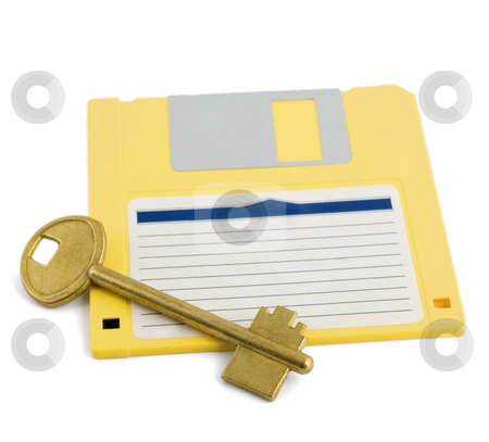 Key on diskette symbol protection stock photo, Key on diskette symbol protection isolated on white background by Vladyslav Danilin