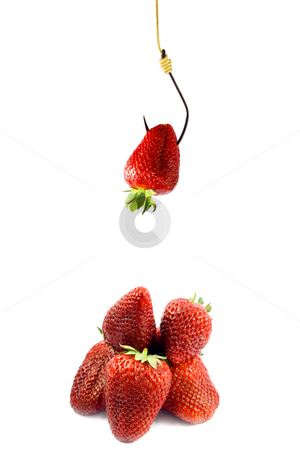 Strawberries bait stock photo, Strawberries bait on hook isolated on white background. by Vladyslav Danilin