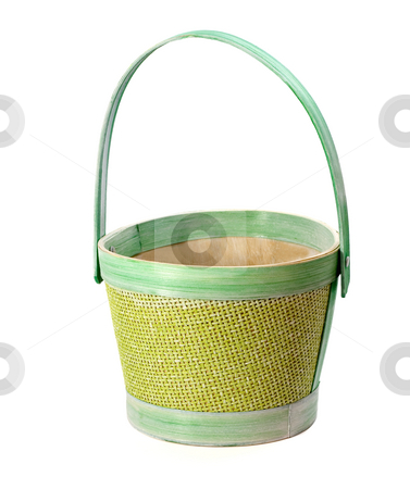 Wicker basket stock photo, Empty green wicker basket on white background by Vladyslav Danilin