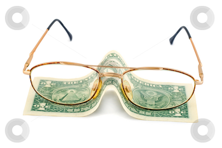Spectacles dollar stock photo, Spectacles dollar success pension close-up isolated on white background by Vladyslav Danilin