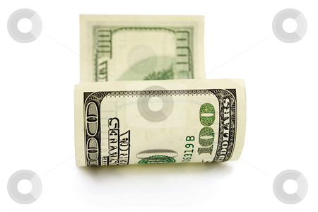 One hundred dollars stock photo, One hundred dollars bank note isolated on white by Vladyslav Danilin