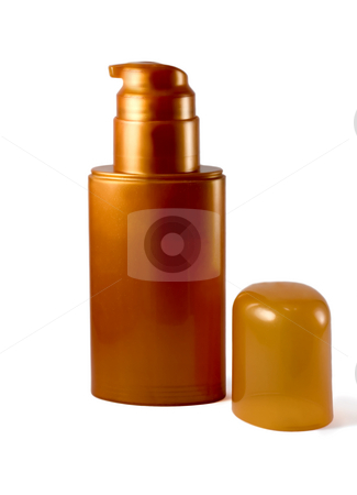 Golden plastic bottle stock photo, Plastic golden bottle  , isolated on white background by Vladyslav Danilin