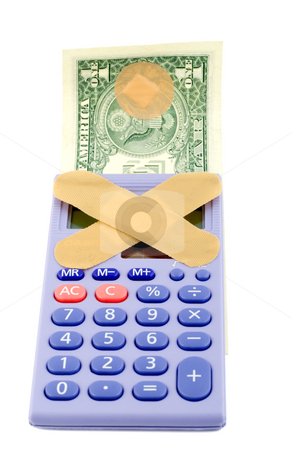 Financial crisis stock photo, Financial crisis concepts , band-aid calculator dollars . isolated on white background by Vladyslav Danilin