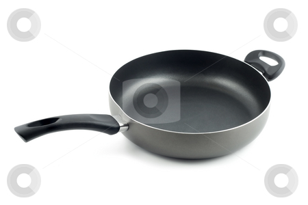 Fry pan  stock photo, Fry pan close-up isolated on white background by Vladyslav Danilin