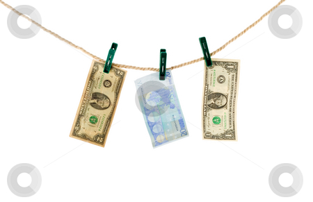 Evro and dollar on rope stock photo, Evro and dollar on rope isolated on white background by Vladyslav Danilin