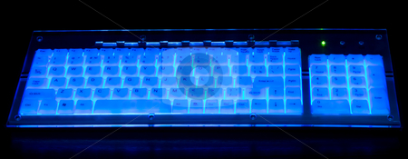 Pc keyboard stock photo, Blue pc keyboard on black background by Vladyslav Danilin
