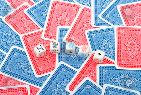 Poker dice in cards background stock photo, Poker dice in cards background,could be used for casino background by Vladyslav Danilin