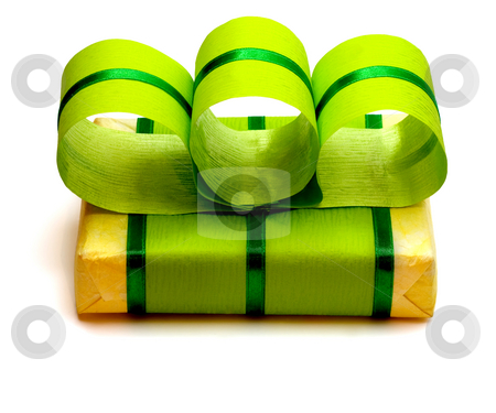 Green Gift Box with Green Ribbon stock photo, Green Gift Box with Green Ribbon  ,isolated in white background by Vladyslav Danilin