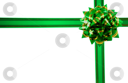 Gift ribbon stock photo, Green gift ribbon isolated on a white background. by Vladyslav Danilin