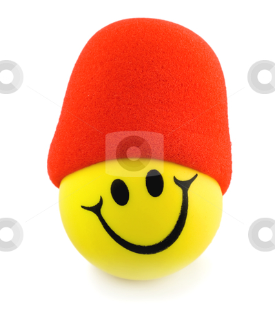 Smiley face in red hat stock photo, Smile ball mike isolated on white background by Vladyslav Danilin
