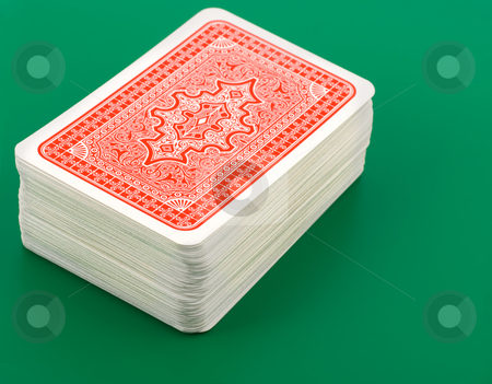 Playing cards stock photo, Playing cards on green background by Vladyslav Danilin