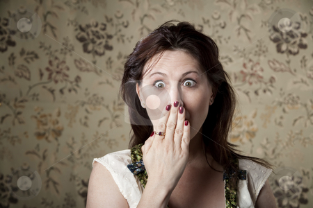 Surprised Woman stock photo, Surprised young woman with hand in front of her mouth by Scott Griessel
