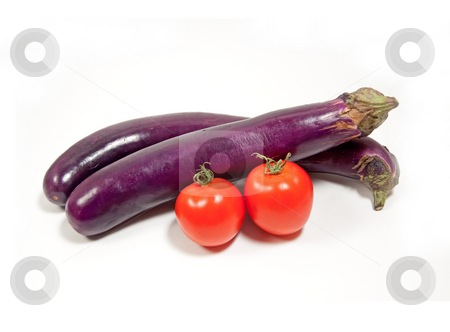 Chinese eggplant and tomato stock photo, Summer vegetables isolated on white by Shi Liu