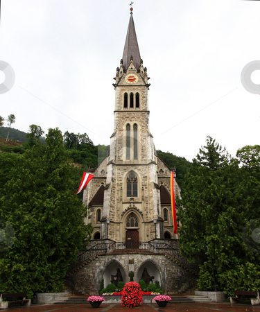St Florin Cathedral stock photo, View of the front of St Florin Cathedral in Vaduz, the capital city of the Principality of Liechtenstein by Bernard Cruz